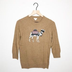 J. Crew Tan Camel Embroidered Sweater